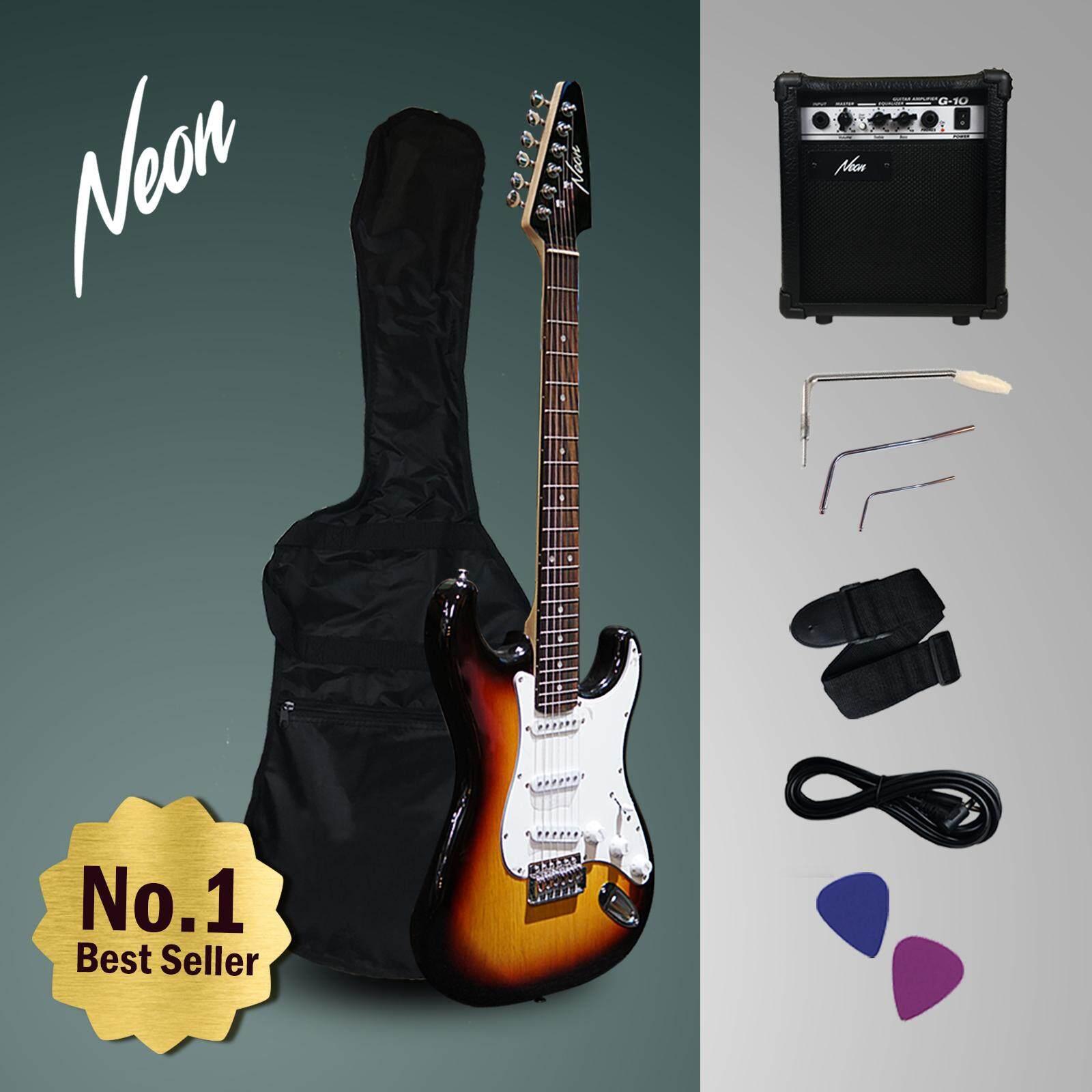 Taloha Neon Jumpstart Electric Guitar Package Sunburst 10W Amplifier Full Set
