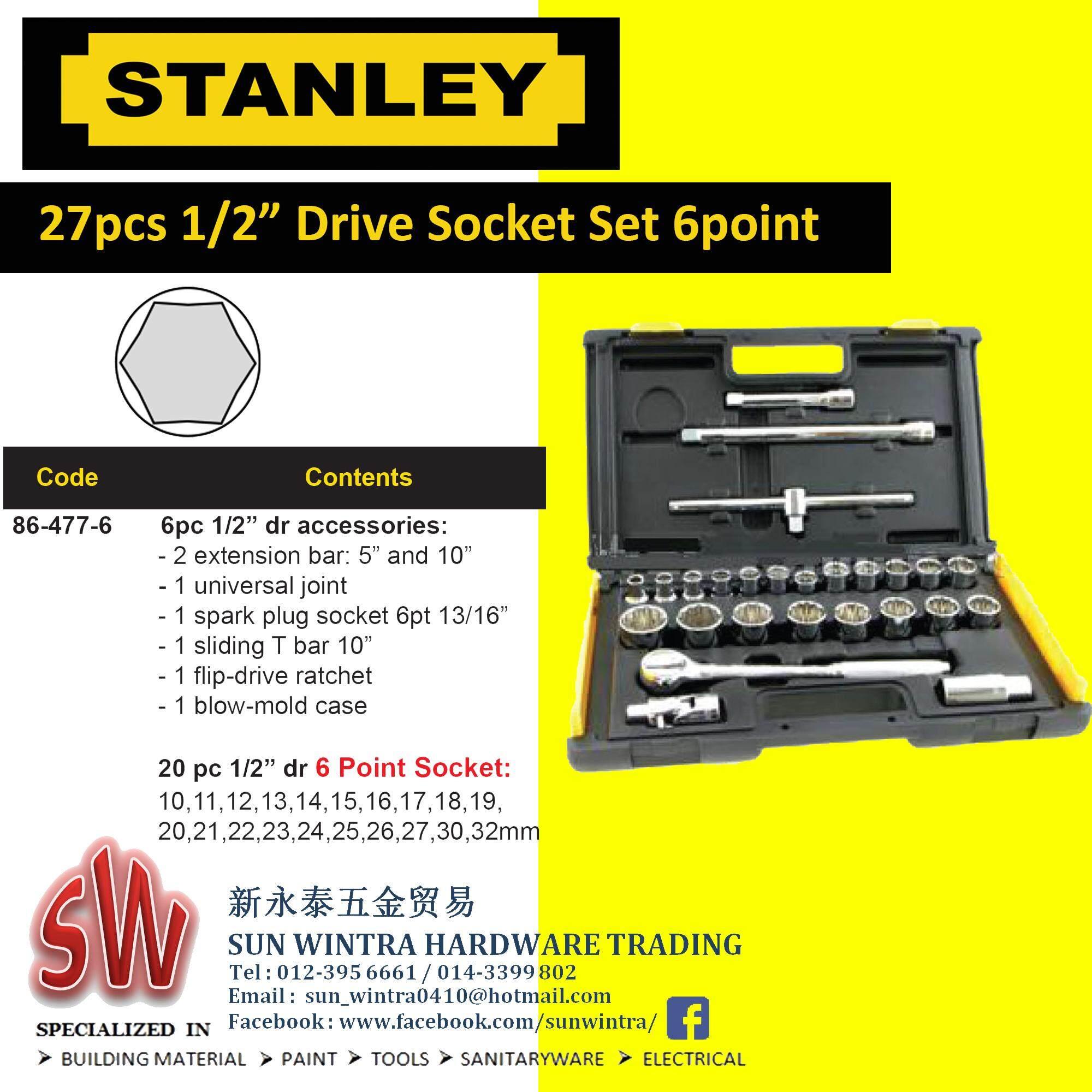 "STANLEY 27PCS 1 2"" DRIVE SOCKET SET 6 POINT 86 477"
