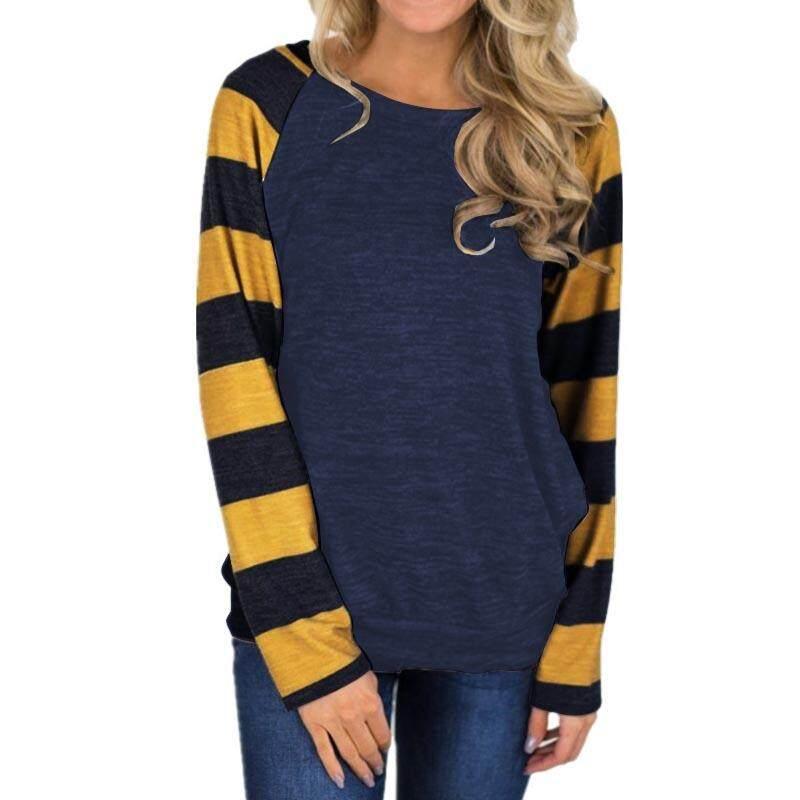Zanzea Wanita Crewneck Lengan Bergaris Lengan Panjang Blus Blus Atasan Sweater On Tanpa Kancing Baru-Internasional