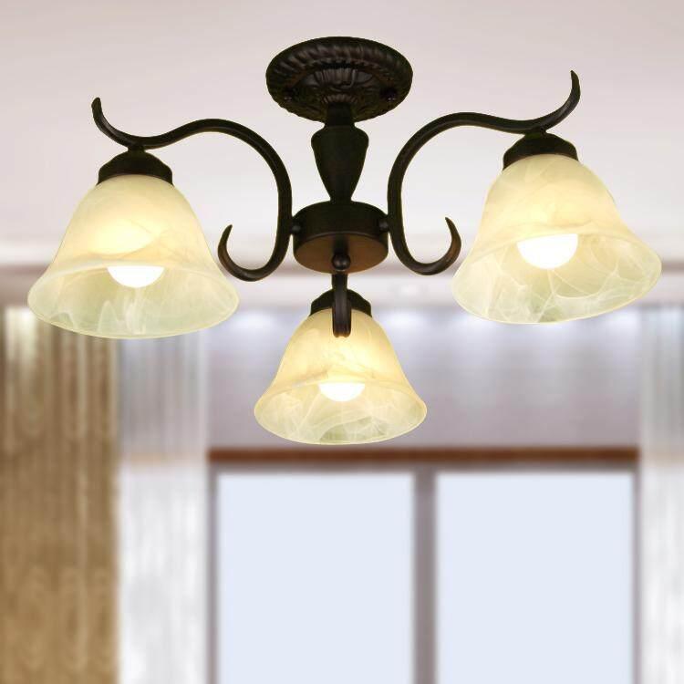 Nordic Retro Chandelier Bedroom Restaurant Wrought Iron Chandelier Porch Balcony Ceiling Lamp Decorative Lighting - intl