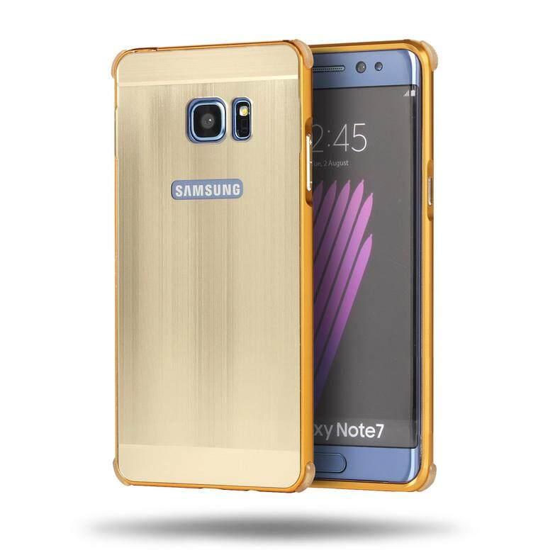 Untuk Samsung GALAXY Catatan Fan Edition/FE bumper Logam dan Kawat Menggambar PC Pelindung Penutup