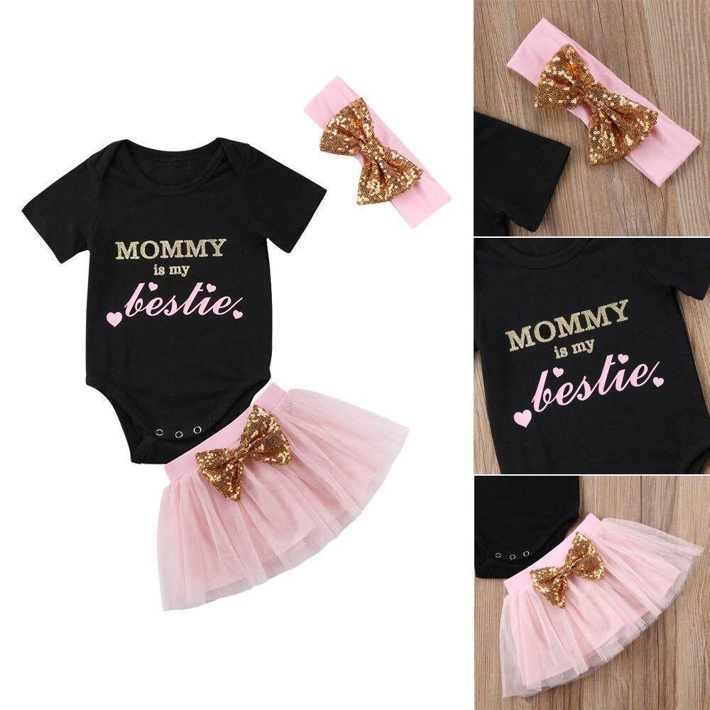 3 Pcs Set Bayi Perempuan Baru Lahir Atasan Baju Anak + Gaun Tutu Tuan Putri Pesta