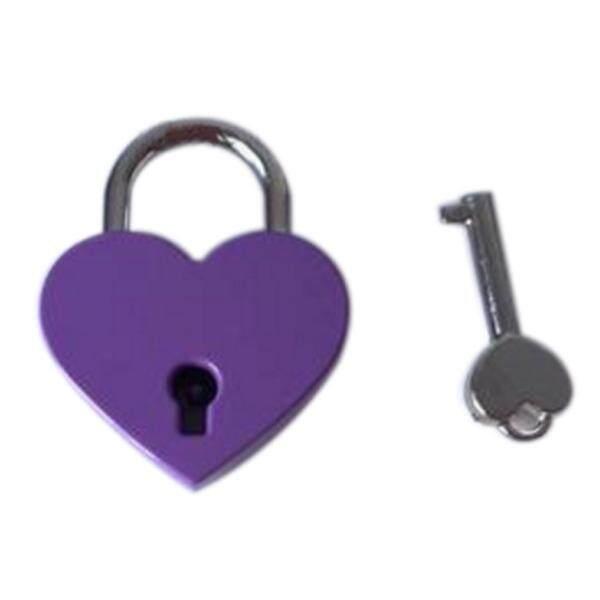 Vintage Personalized Heart Shape Padlock with Key Travel Locker Set - purple L