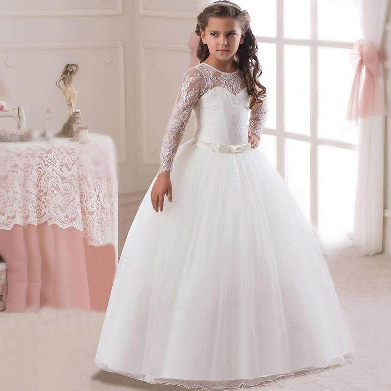 Flower Girls Dress Girl Weddings Party Dresses Ankle Lenght Clothes Princess Ball Gown Costume