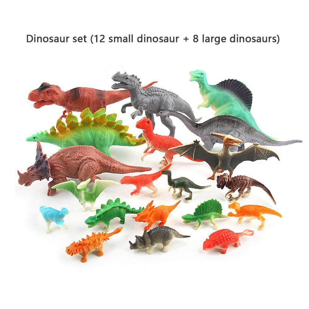 Treeone 20 Pcs Educational Simulated Realistic Looking Dinosaurs Model Toys Stet Plastic Dinosaur Figures Kit