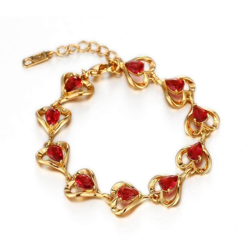 ... Cincin Source · XUPING JEWELRY sintetis batu rubi gelang perempuan Jepang Korea berlapis emas perhiasan tangan Cinta ornamen murid
