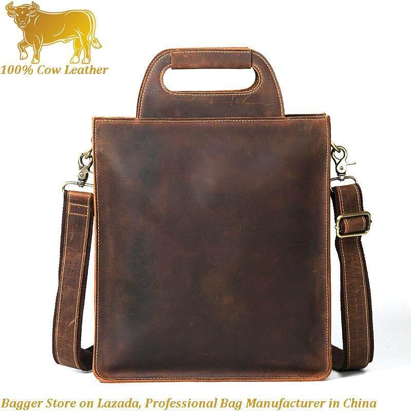 100% Italian Genuine Cowhide Business Bags Crazy Horse Leather Man Handbag  Retro File Bag Top 9213f0a2a5302