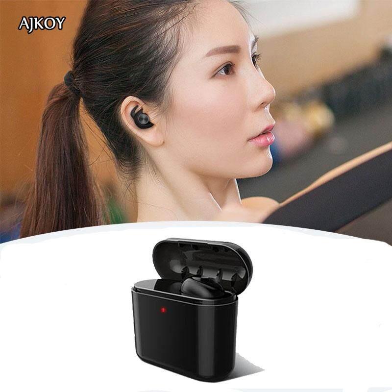 Ajkoy BL1 Bluetooth Headphone Bisnis Sport Built-In Mikrofon Sweatproof Kembar Stereo In-Ear