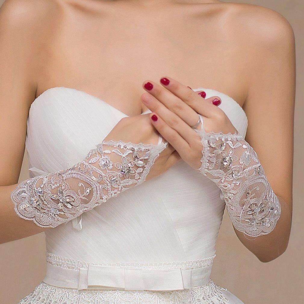 Detail Gambar OH Lace Wedding Gloves Bride Fingerless Embroidery Wedding Dress White Gloves white Terbaru