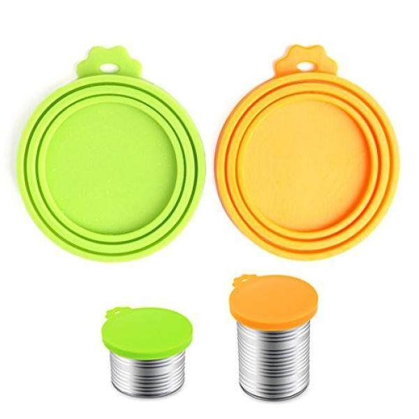 Comtim Pet Food Can Cover Silicone Can Lids For Dog And Cat Food(universal Size,one Fit 3 Standard Size Food Cans),green And Orange By Buyhole.