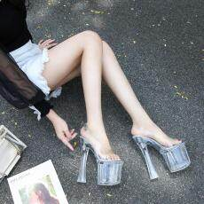 Women High Heels Shoes Pumps Perspex Platform High Heels PVC Clear Crystal Classic Buckle Strap Fashion