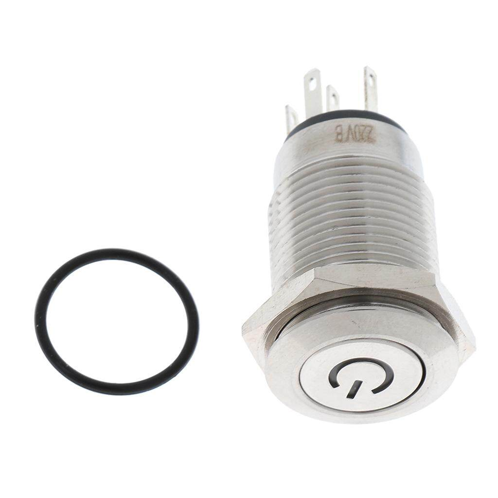 MagiDeal Push Button Switch 1NO 1NC SPDT ON/OFF with LED for 16mm Mounting Hole 220V