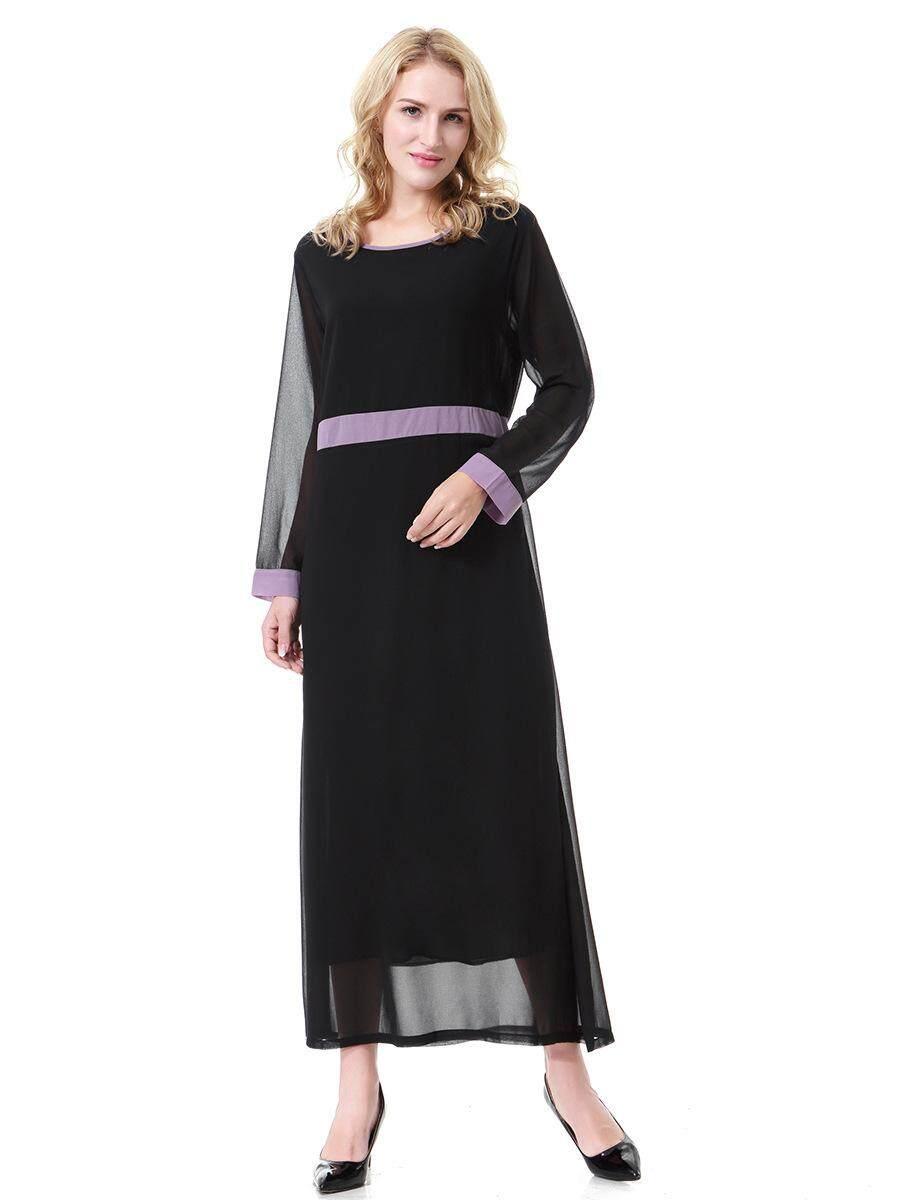Malaysia Wanita Lengan Panjang Muslim Gaun O-neck Chiffon Baju Kurung Timur Tengah Dubai Saudi Arabia Abaya Gamis-Intl