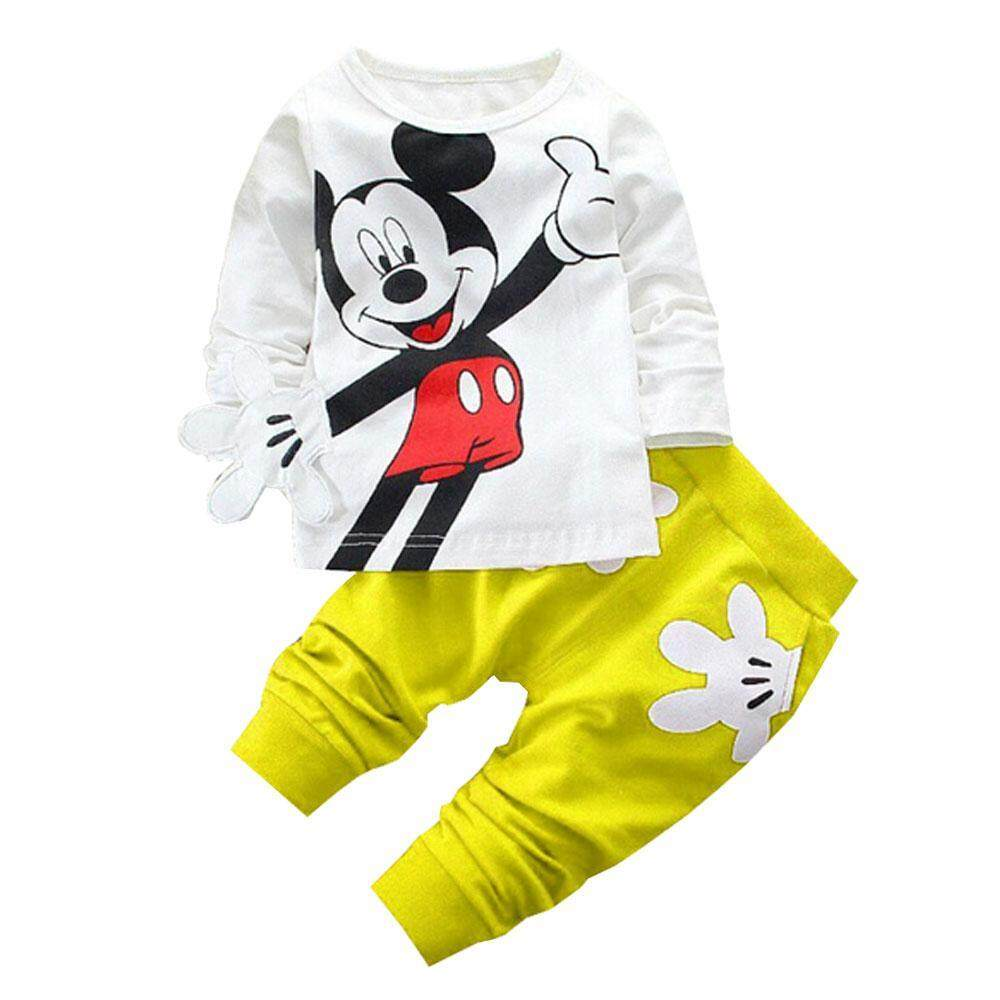 Niceeshop New Baby Girls Boys Childrens Clothing Autumn Character Cotton Long-Sleeved Shirt + Pants Suit Children Set For 1-3 Years By Nicee Shop.