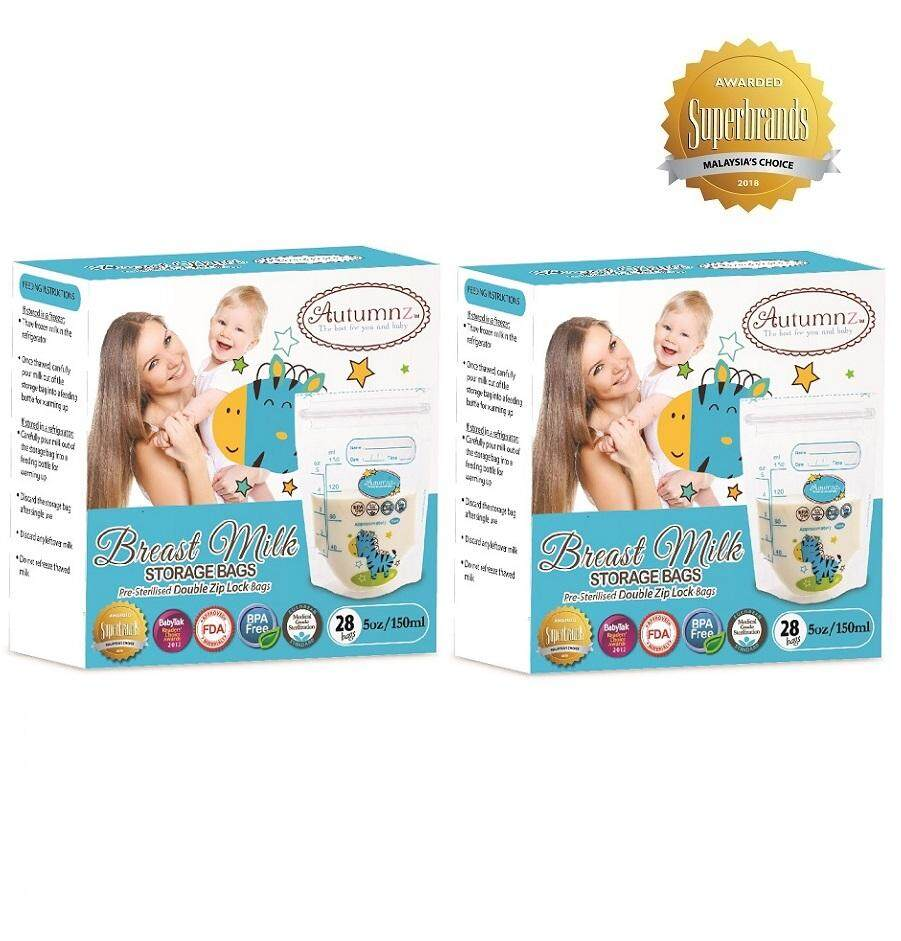 Autumnz - Double ZipLock Breastmilk Storage Bag *5oz* ZEBRA (TWIN PACK) (28 bags / pack)