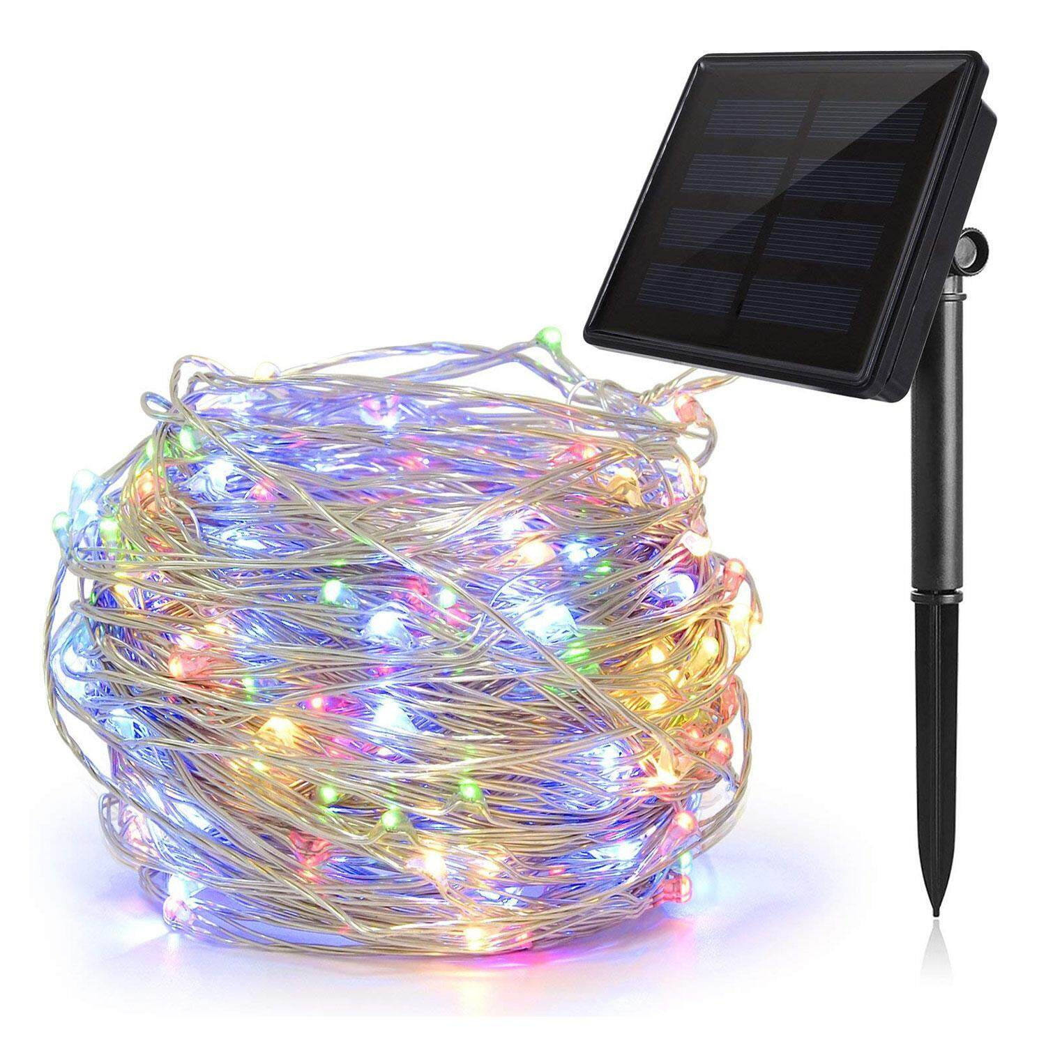 Aolvo Solar outdoor garden fence Christmas tree lights wedding decoration color string lights,10 meters