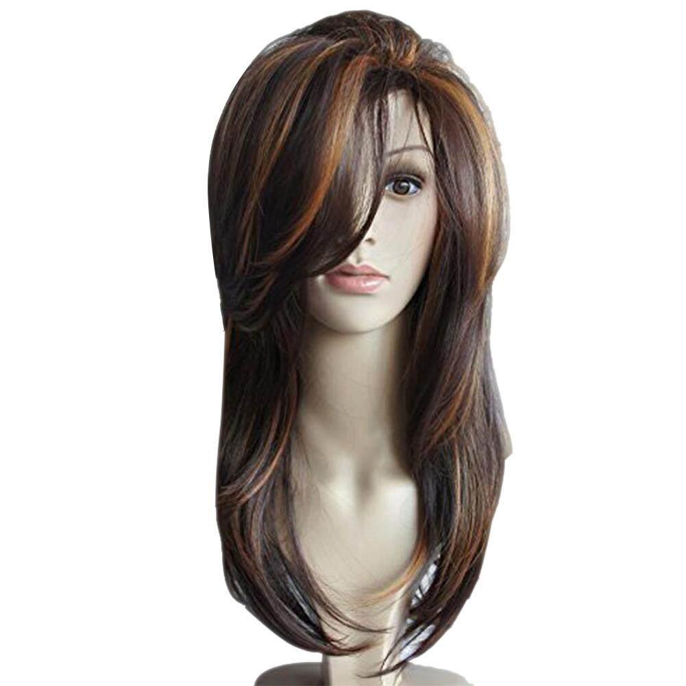Wanita Panjang Bergelombang Keriting Wig Penuh Wig Rambut Cokelat-Intl