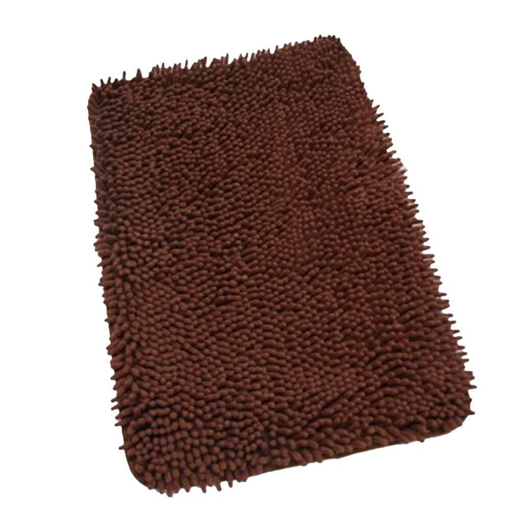 Dolity Microfibre Shaggy Chenille Shower Bath Mat Floor Area Rug 40x60cm-Coffee