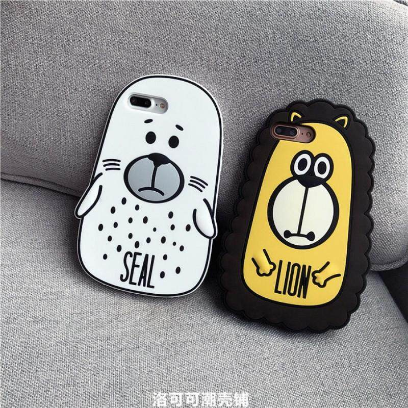 Korea lovely cartoon animal apple X cellular phone hull Huo gum iphone the 8/6/7 pluses defend to fall off a soft set of 5 s lovers(The 6 Plus Huo gum black cat)