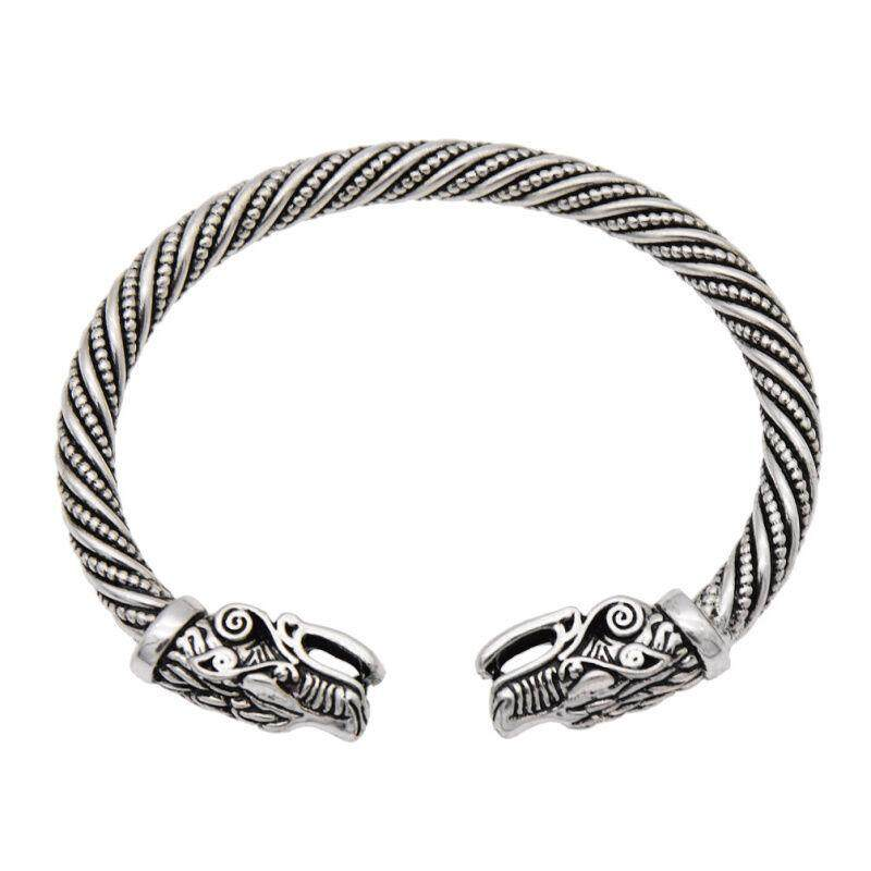 Norse Viking Wolf Head Silver Bracelet Open Gothic Bangle Punk Rock Wristband By Freebang.