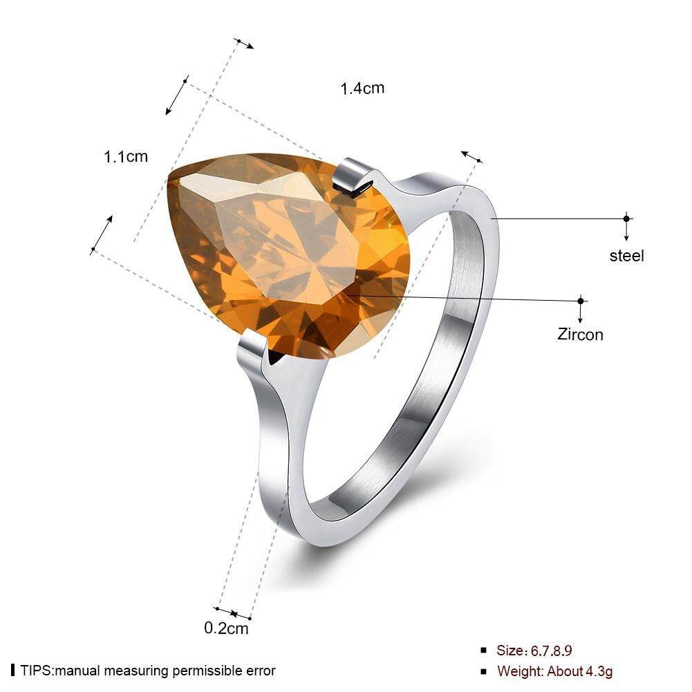 Kemstone Diamond Titanium Steel Rings Clear Water Drop Crystal Women Rings
