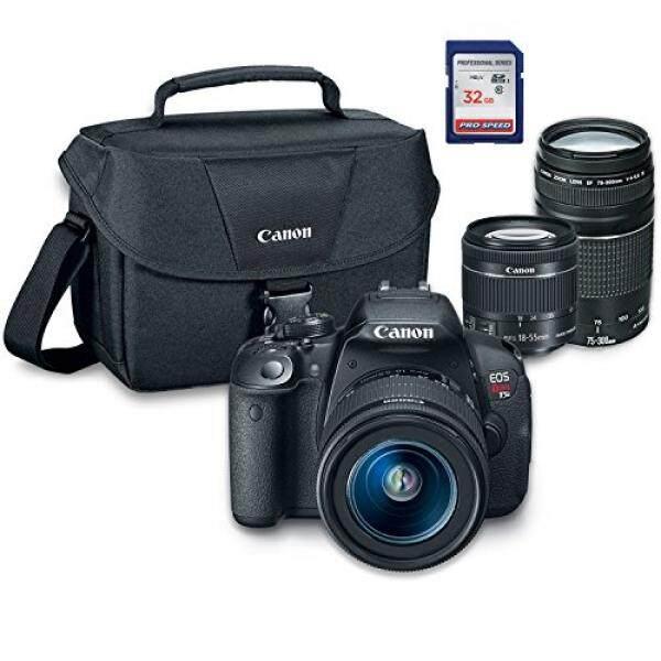 Canon EOS Rebel T5i Digital SLR Kamera Kit dengan EF-S 18-55 Mm STM + EF 75-300 Mm III + ES100 Case + 32 GB Kelas 10 Kartu SD-Versi Internasional