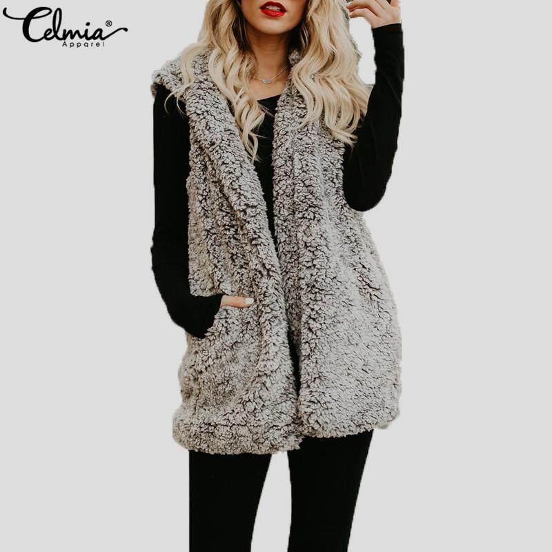 a32d075f75c Celmia Women Ladies Winter Warm Hooded Sleeveless Faux Fur Waistcoat Gilet  Loose Vest Jacket Outwear