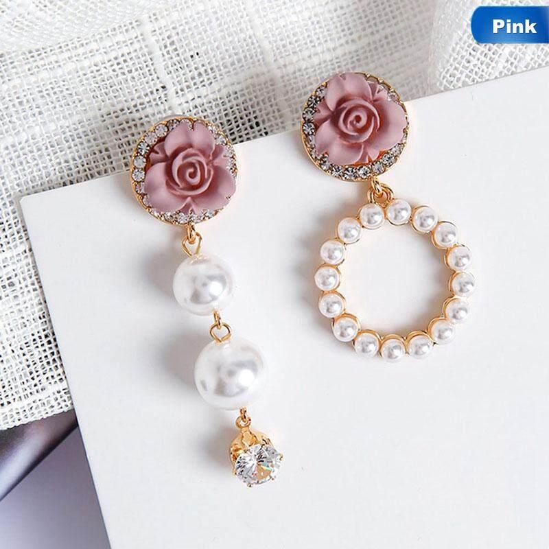 Linfang Mode untuk Wanita Mewah Rose Halus Liontin Mutiara Anting-anting Tidak Simetris-Intl