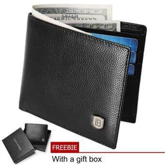 Bostanten Cowhide Leather Simple Checkbook Card Holder Bifold Wallet for Men (Black)