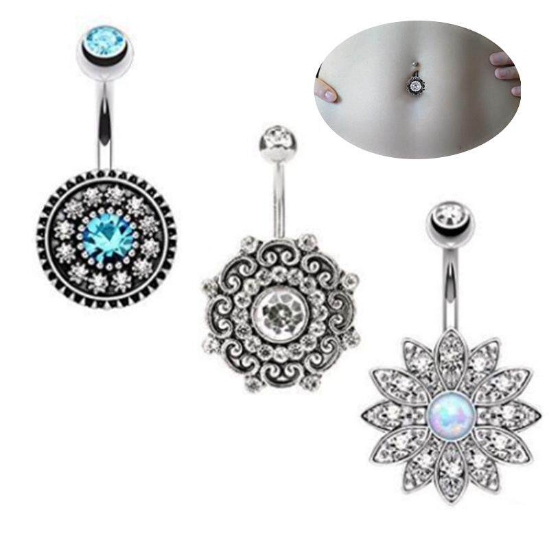 3 Pcs/Set Women Belly Button Rings Crystal Flower Surgical Steel Body Piercing Jewelry -