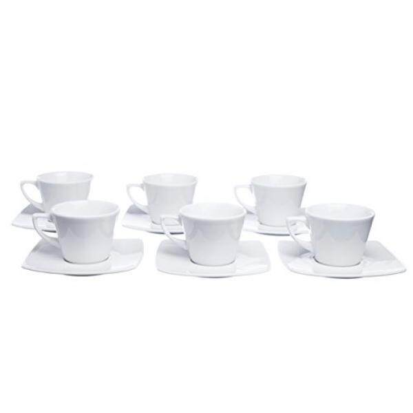 MOKKO 12-Piece Coffee/Espresso Cups 5.5 Oz. with Square Saucers (Set of 6) - intl