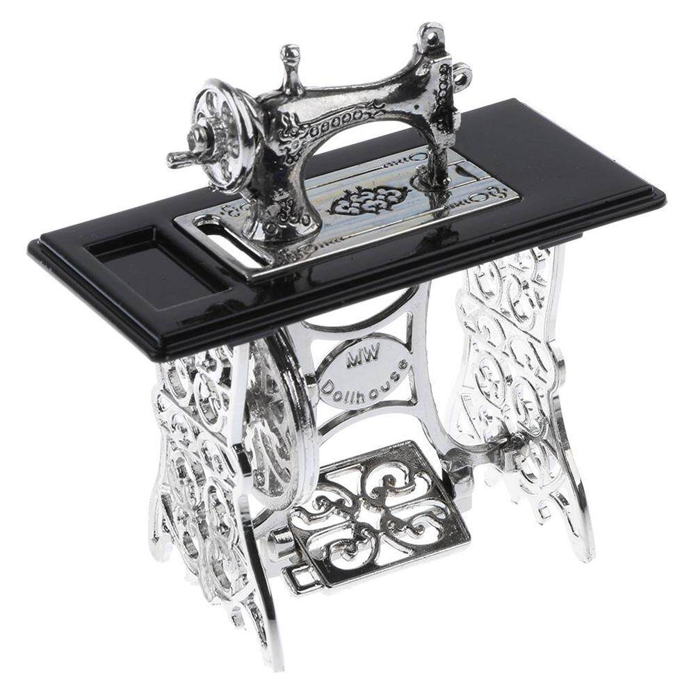 Vintage Miniature Sewing Machine Furniture Toys Gifts for 1/12 Doll House Decor Retro Children Toys Accessories