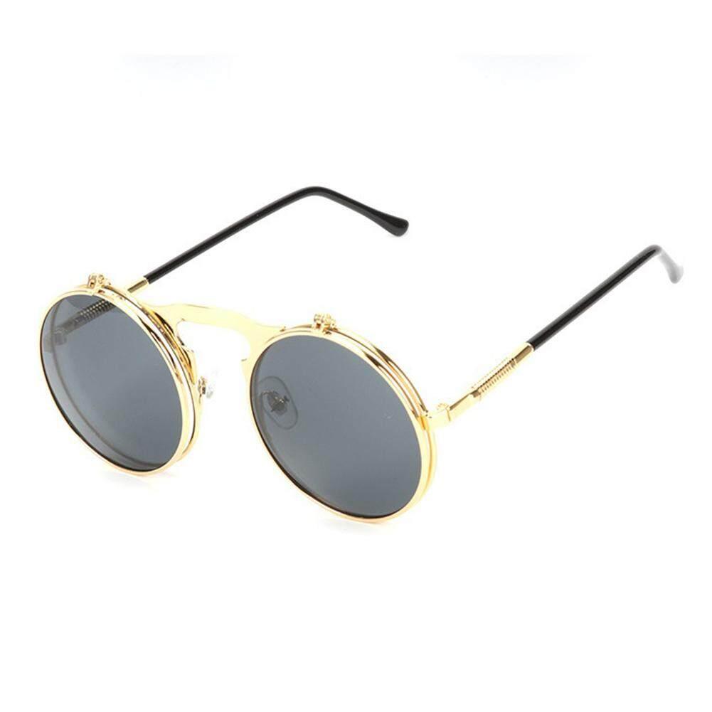Qimiao Logam Modis-Bingkai Kacamata Hitam dengan Upturning Penutup Snap Jalan Kacamata Pesta Ulang Tahun