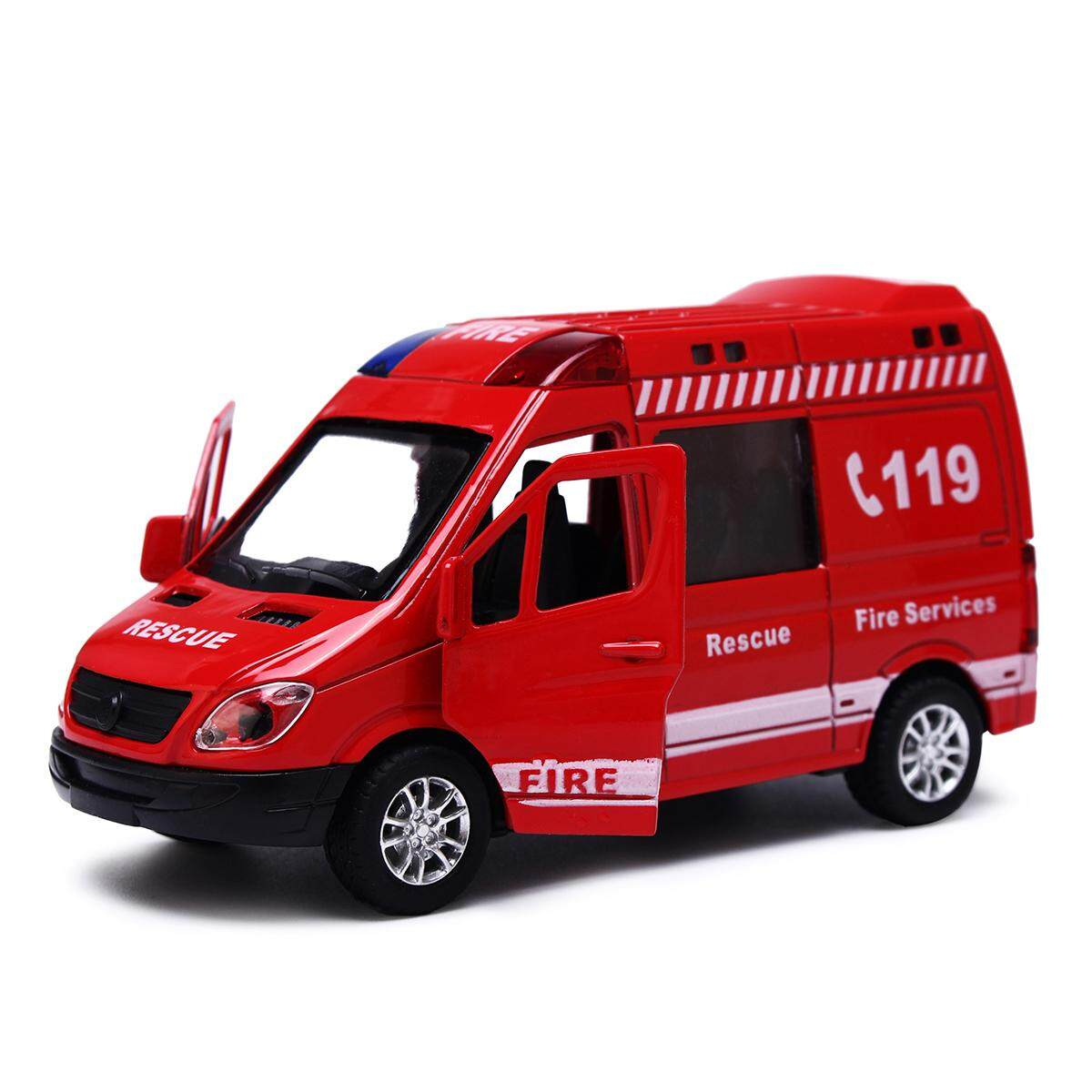 1:36 Api Simulasi Truk Ambulans Polisi Model Mobil Mainan Anak-Anak Anak Hadiah Merah Api Truk-Internasional By Freebang.