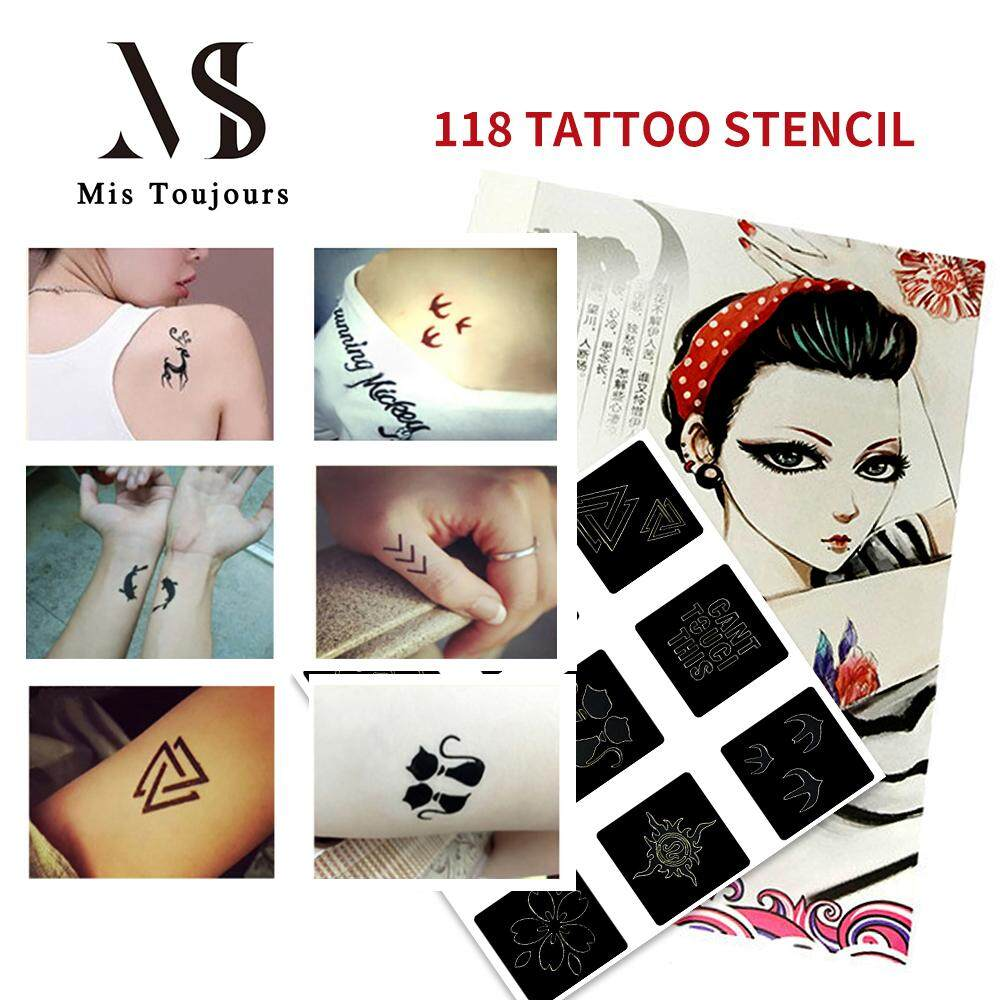Mua Misshe 118Pcs Tattoo Stencil Set Temporary Glitter Airbrush Henna Tattoo Templates for hot Sexy Woman Man tattoo - intl