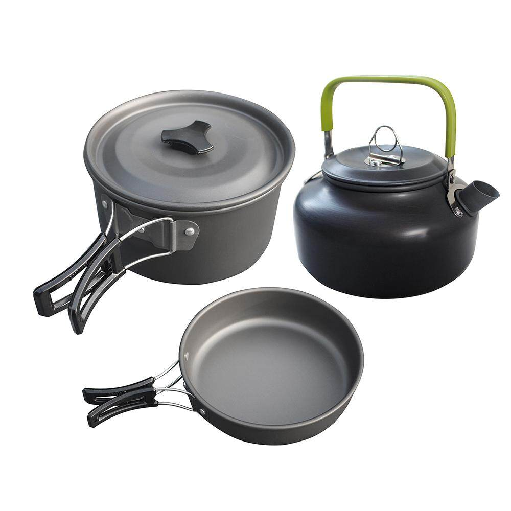 3 Piece Pot Pan Kettle Set Outdoor Backpacking Cooking Picnic Camping Cookware Kit - intl
