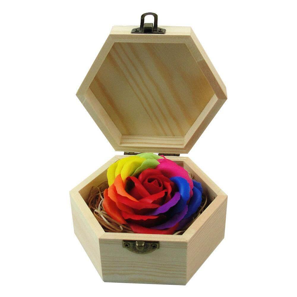 sengshen Chromatic Scented Body Bath Flower Rainbow Rose Petal Soap with Wood Hexagonal Shape Box Valentines Day Anniversary Birthday Wedding Gift - intl