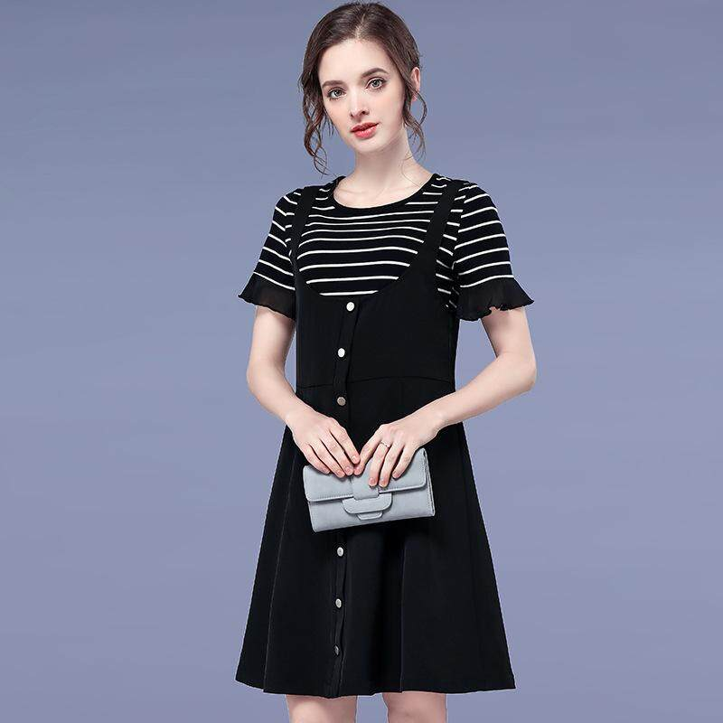 Dress Girl Xia New College Hong Kong - Style Stripe Of The Sleeve Two - Piece
