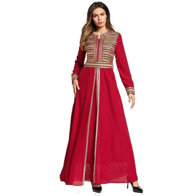 Muslim Vintage Palace Style Abaya Dress Female Embroidery Slim Tunics Malaysia Clothing Party Long Robe Gowns
