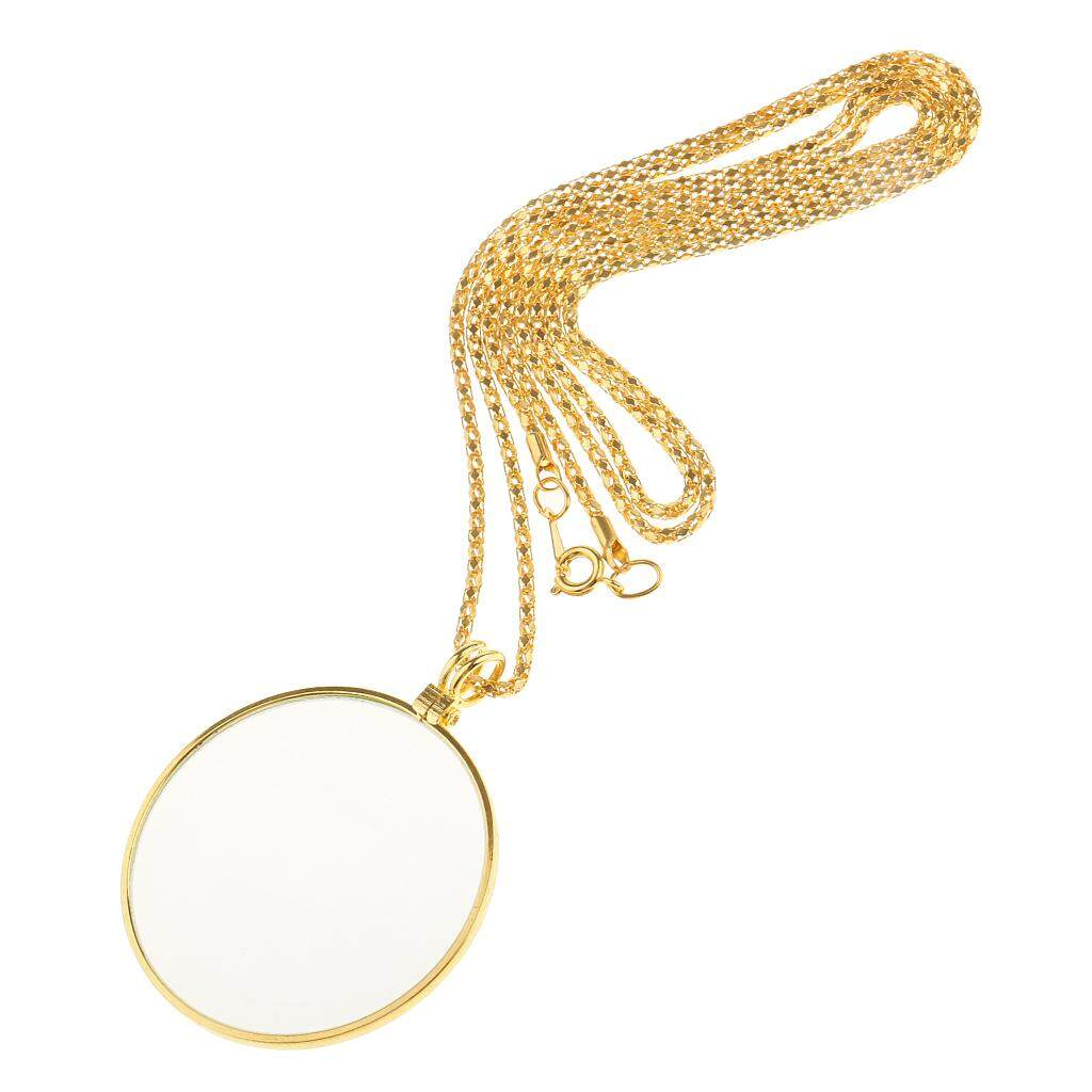 BolehDeals 6X Monocle Magnifying Glass on Necklace Chain Reading Map Magnifier Loupe Pendant with Neck Lace