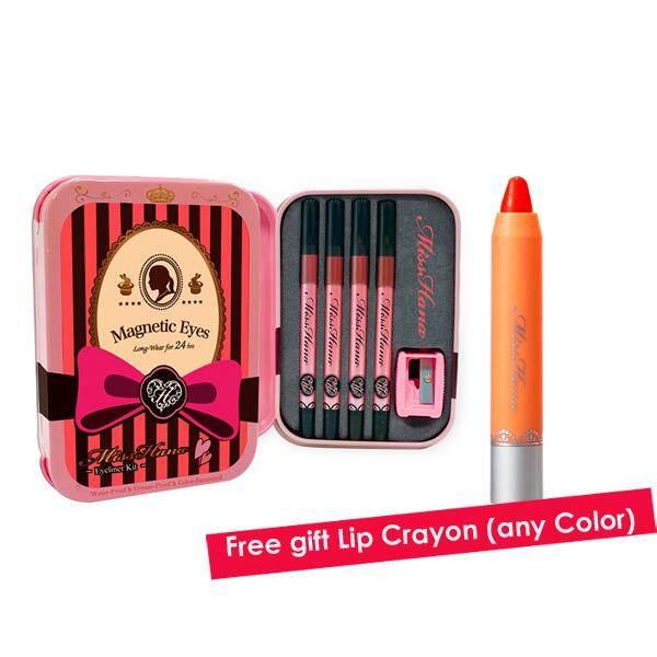 Miss Hana Waterproof Eyeliner Kits Set ( Free Lip Crayon)