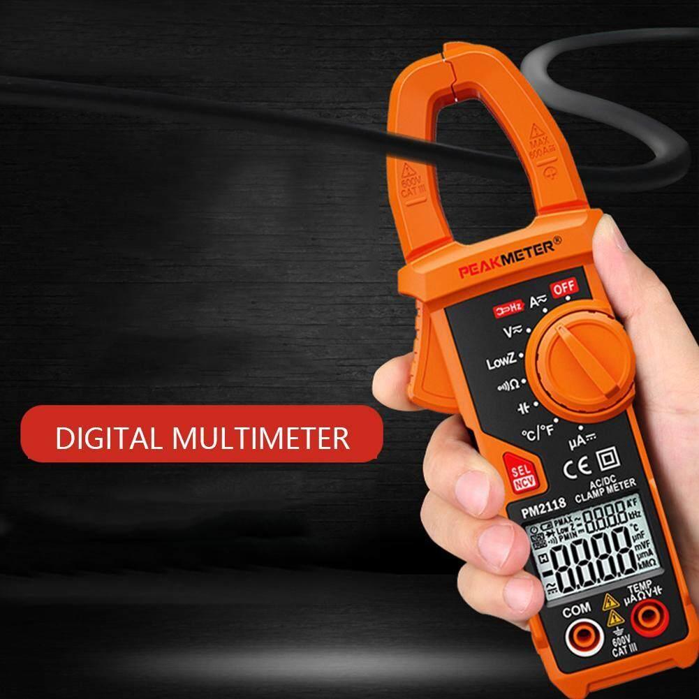 【Túi Miễn Phí】 PEAKMETER Pm2118 Hiển Thị Thời Gian Kép Kẹp AC DC Multiemeter NCV Ohmmeter Điện Dung Temp Tester