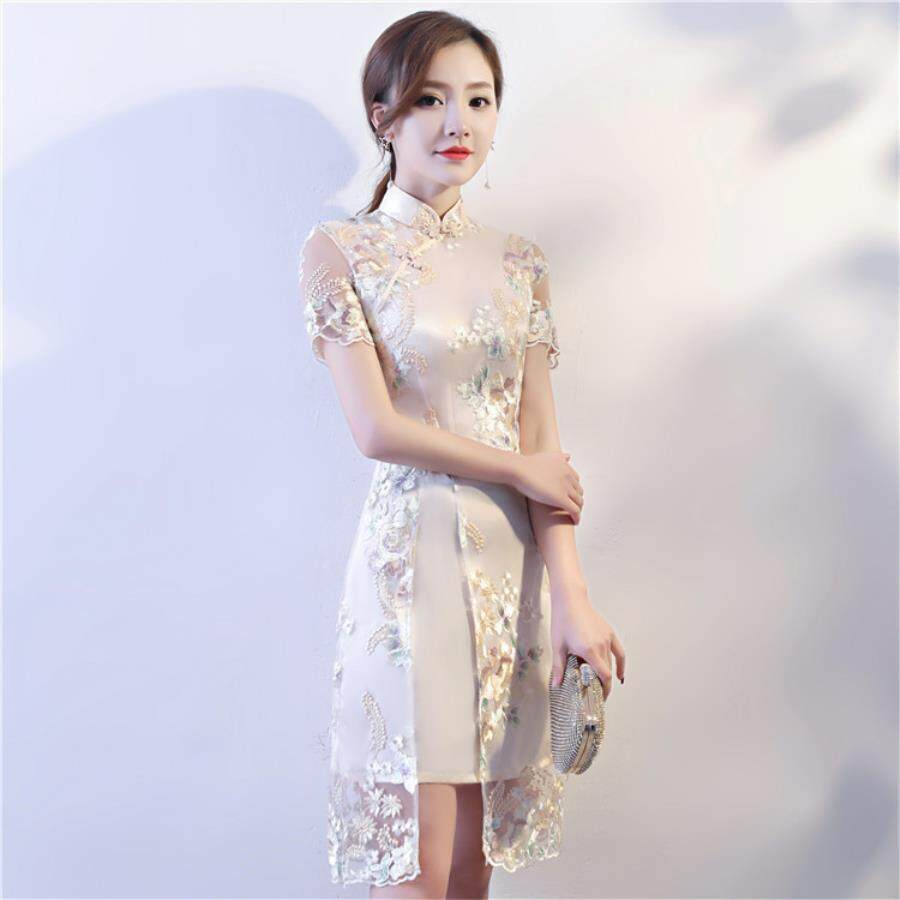 Improved Fashion Small Fresh Lace Embroidered Cheongsam Skirt 2018 Spring Summer New Art Students Everyday Qipao