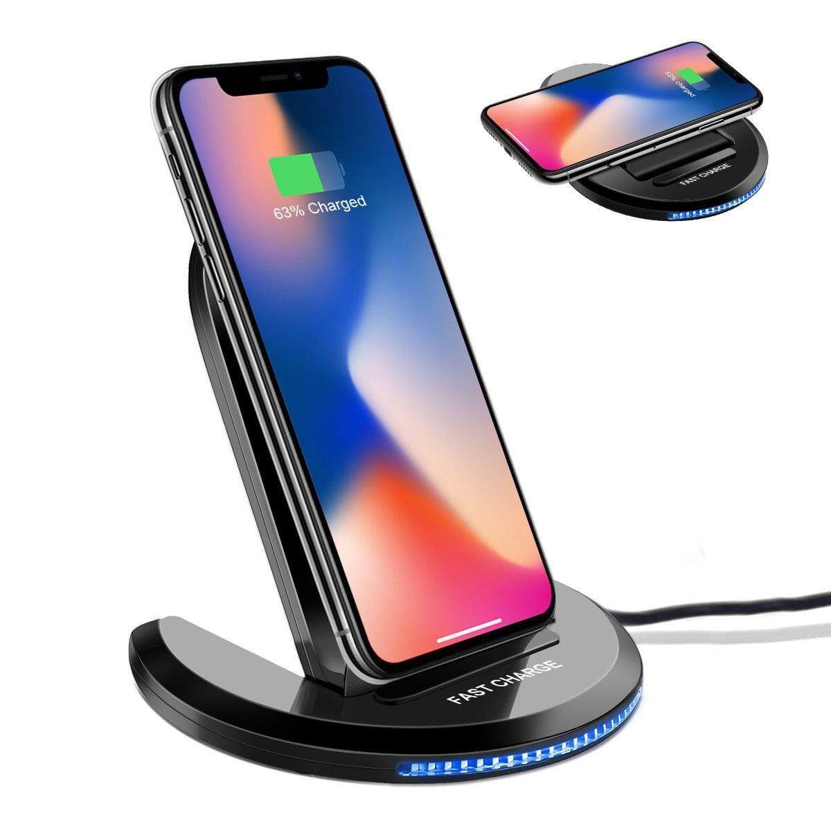YSLP Fast Wireless Charger, iPhone X Wireless Charger 10W Qi Wireless Charging Pad Stand for Samsung Galaxy S9 Plus S9+ Note 8 S8 plus S7 S6 galaxy s7 iPhone X 8 8 Plus and All Qi-Enabled Devices - intl
