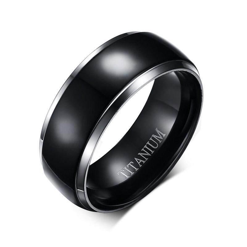 Vnox 100% Cincin Titanium Pria Perhiasan Klasik Hitam 8 Mm Hadiah Pacar-Intl