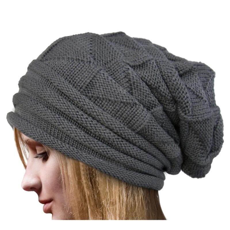 Women Unisex Winter Crochet Hat Ski woolen yarn Knit Beanie Warm Caps Oversized, Gray
