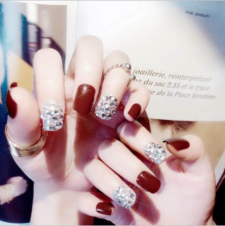 24 Pcs/set Beautiful Rhinestone False Nail Tips Sticker Bride DIY Fake Nails Art Philippines