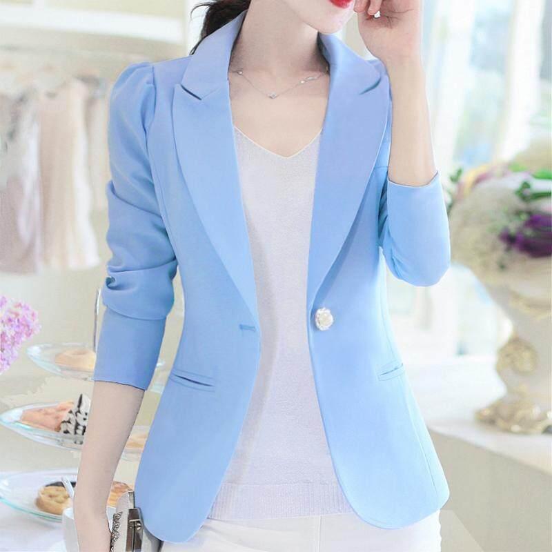 LEIKENISI Blazer Wanita Versi Korea Lengan Panjang (Langit biru) baju wanita jaket wanita