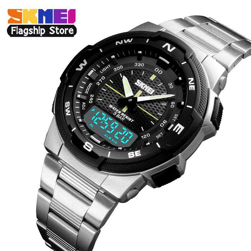 SKMEI New Men Fashion Sports Watches Casual Waterproof Watch Multifunction  Stainless Steel Dual Display Digital Wristwatches 1e0f6f1f8c