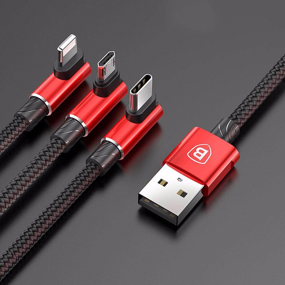BASEUS One Drag Three Charging Data Cable, 3.5A 1.2m Elbow Type-C / Lightning / Micro USB Charge Wire Cable 1.2M